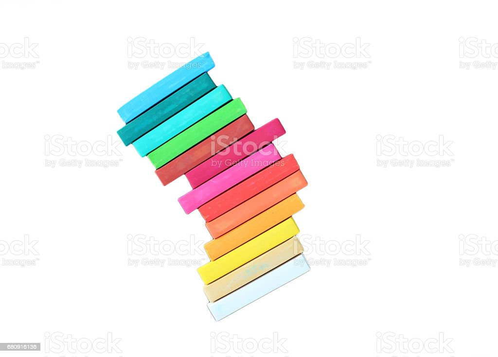 colorful chalk isolated on white background. royalty-free stock photo