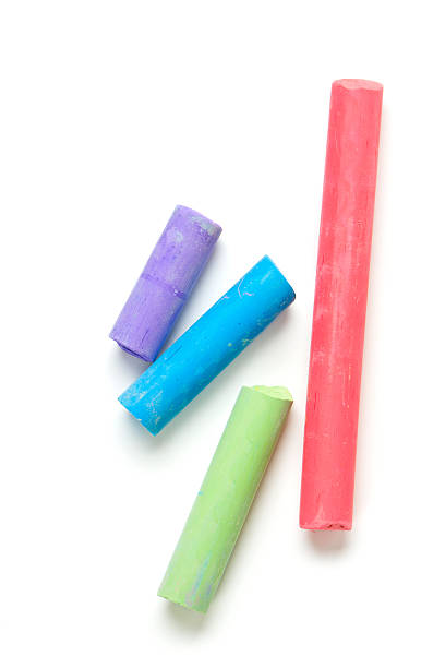 colorful chalks colorful chalks isolated on white chalk art equipment stock pictures, royalty-free photos & images