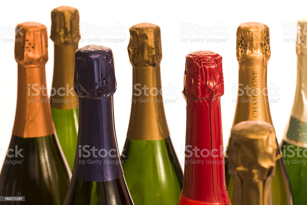 Colorful Champagne Bottles royalty-free stock photo