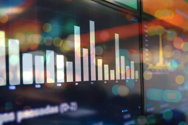 colorful chart board with business data stock photo