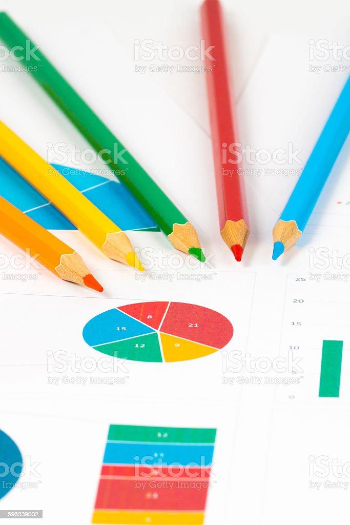 colorful charts with pencils Lizenzfreies stock-foto