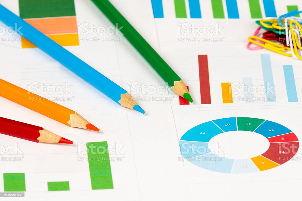 colorful charts with pencils royalty-free stock photo
