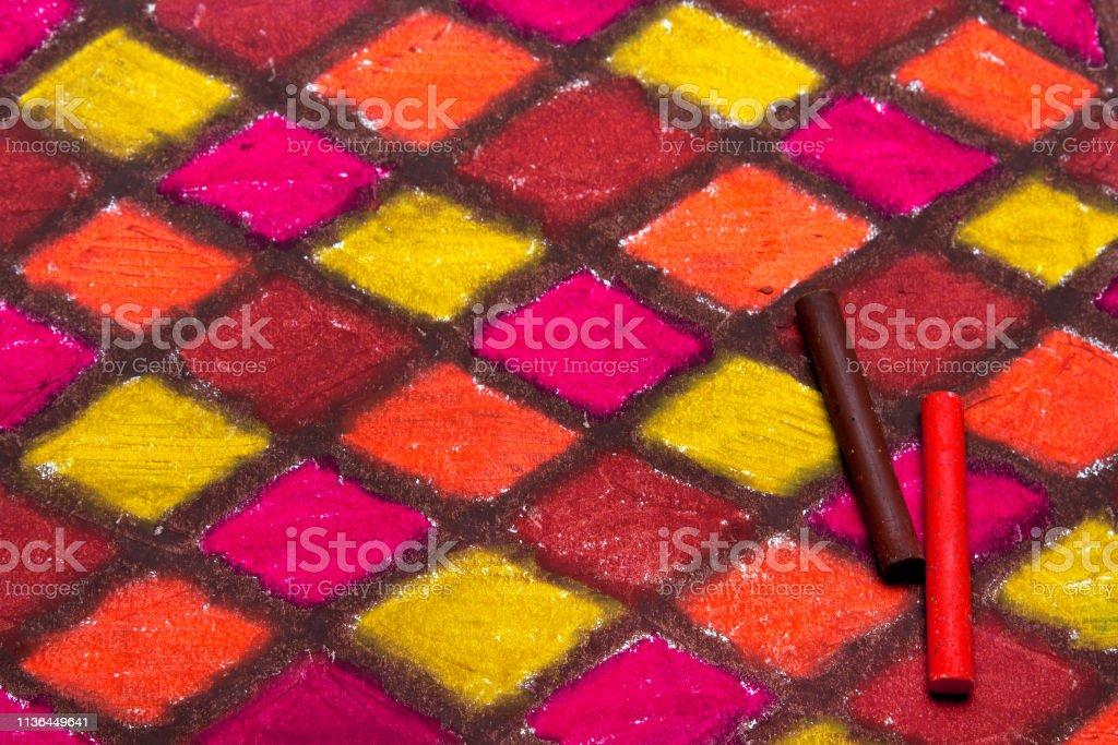Photo Libre De Droit De Dessin à Carreaux Coloré Pastels à