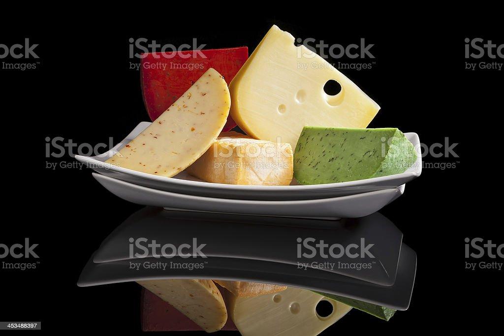 Colorful cheese variaton. stock photo