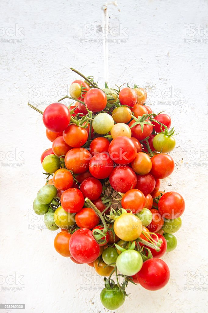 Colorful Cherry Tomatoes Hanging on Whitewashed Wall stock photo