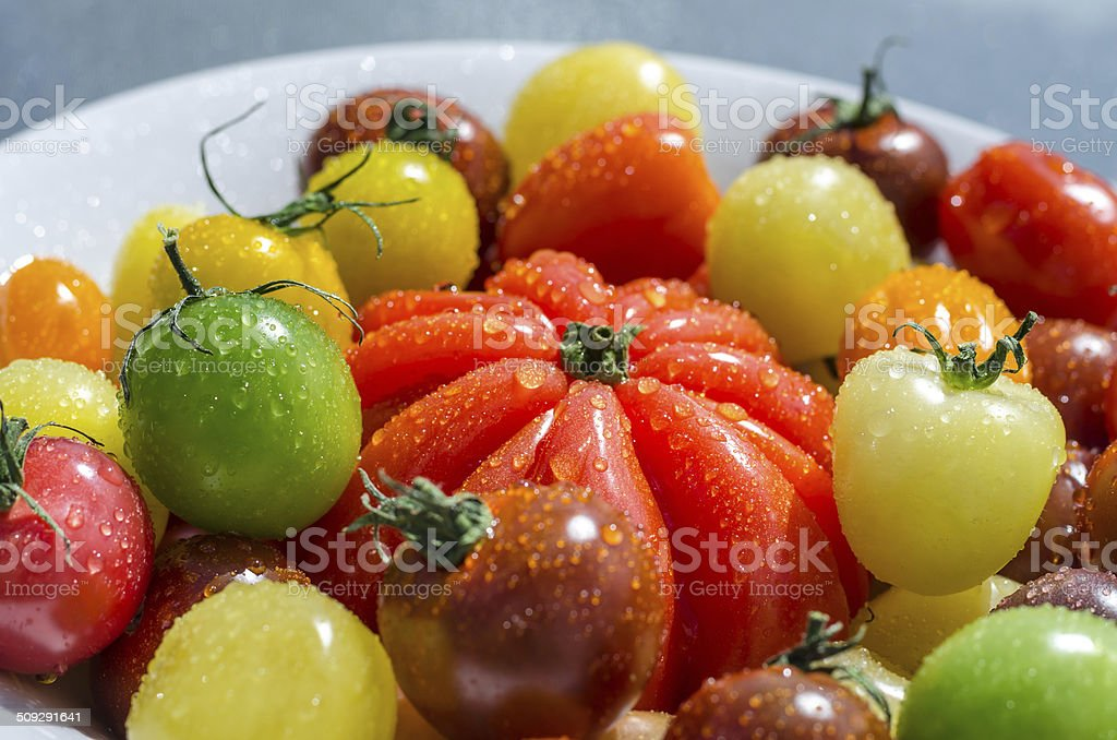 Colorful cherry tomatoes stock photo