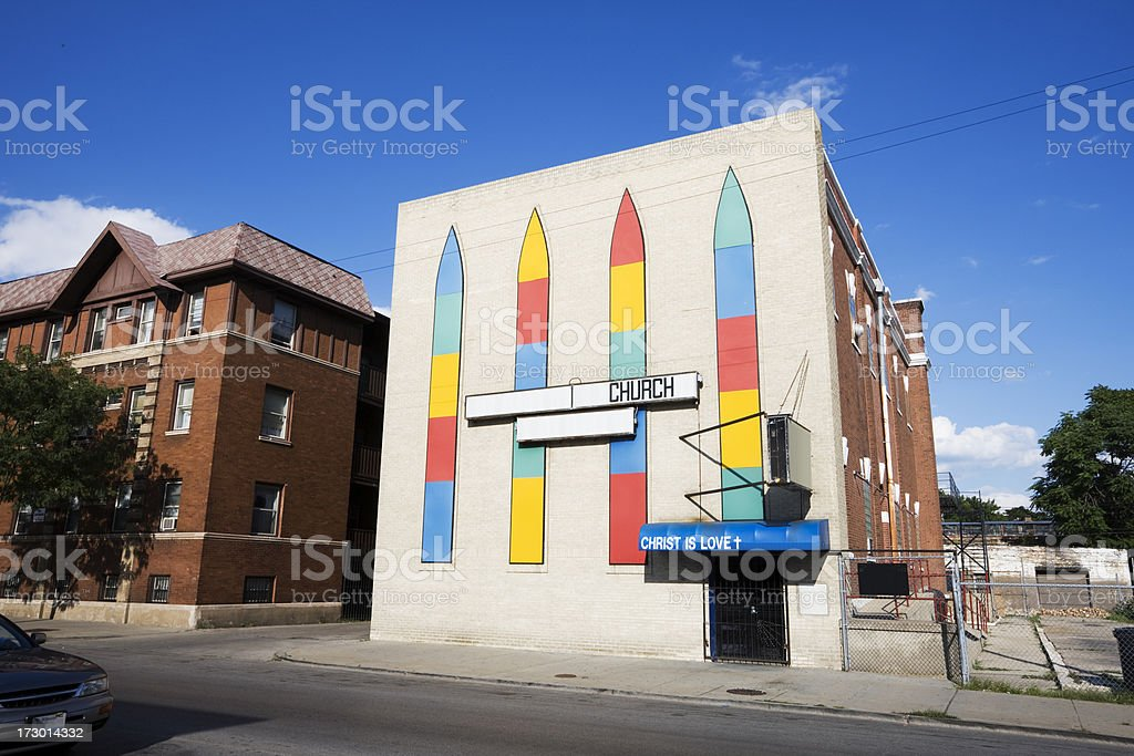 Colorful Chicago Neighborhood Church royalty-free stock photo