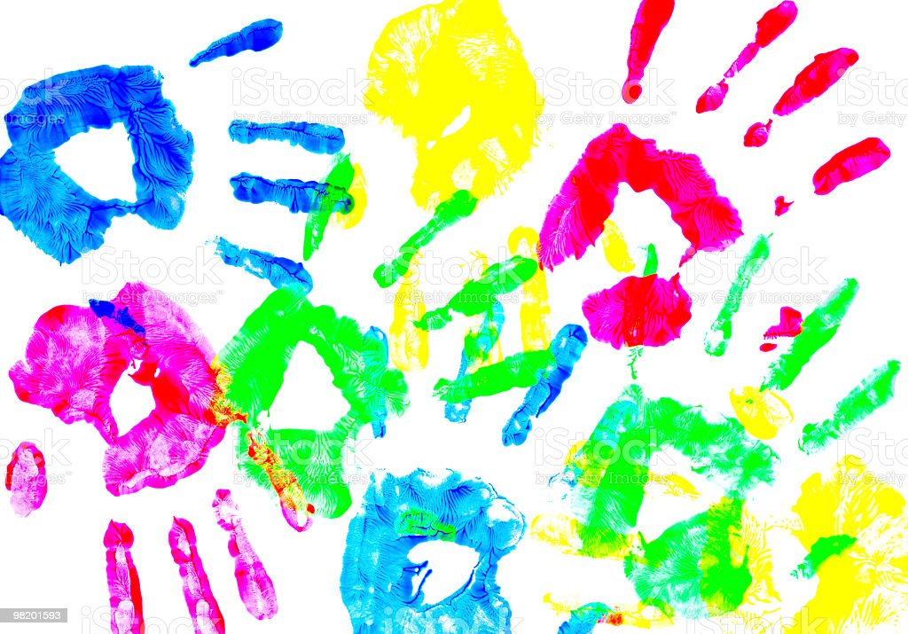 Colorful child hand prints royalty-free stock photo