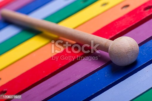 istock Colorful child wooden xylophone isolated on white background 1206073922