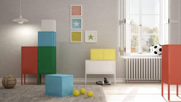bunte kinder-schlafzimmer, minimalistische innenarchitektur - fußball themenzimmer stock-fotos und bilder