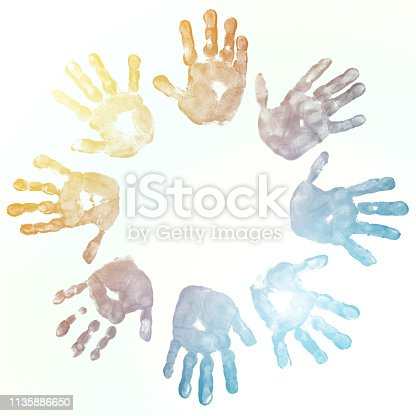 Colorful children's hand print forming a circle.