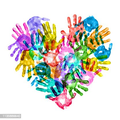 istock Colorful Children Hand Prints Forming a Heart Shape 1135886640