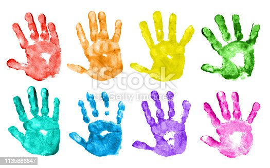 Colorful children's hand prints on white background.