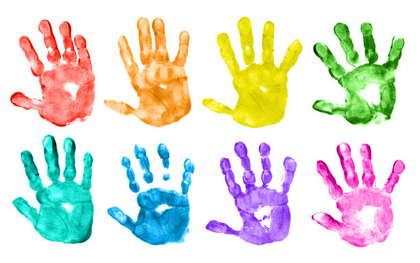 Colorful Children Hand Prints stock photo