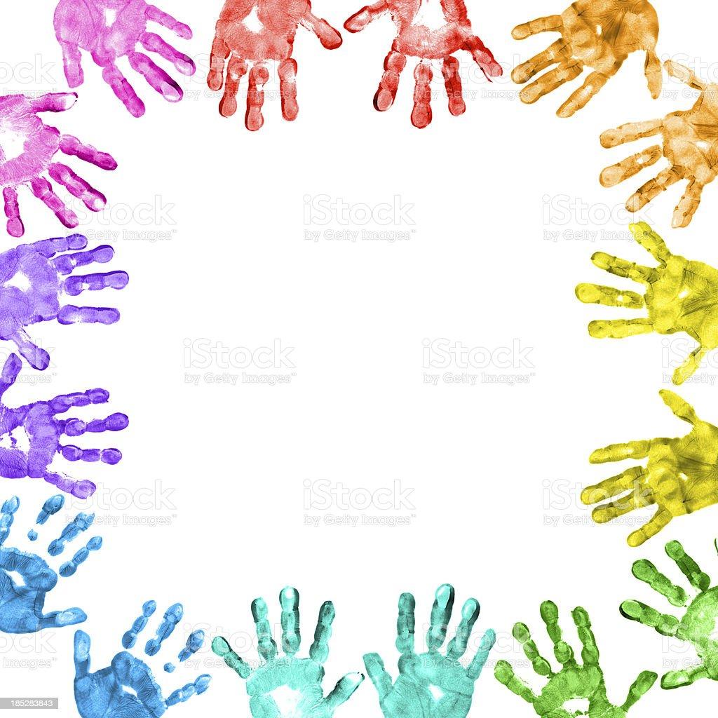 Colorful Children Handprints Border Stock Photo - Download ...