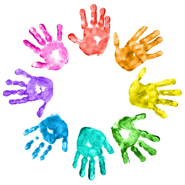 Colorful Children Handprints On A White Background Stock Photo