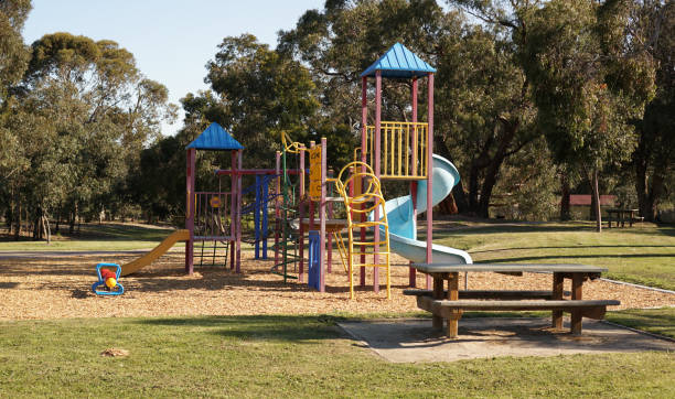 Colorful children playground Empty children playground at park recess stock pictures, royalty-free photos & images