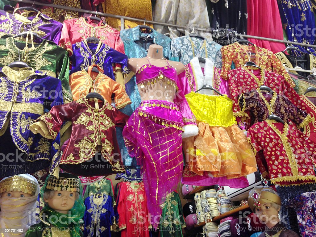 Colorful children's clothing and Belly dancing costum stock photo