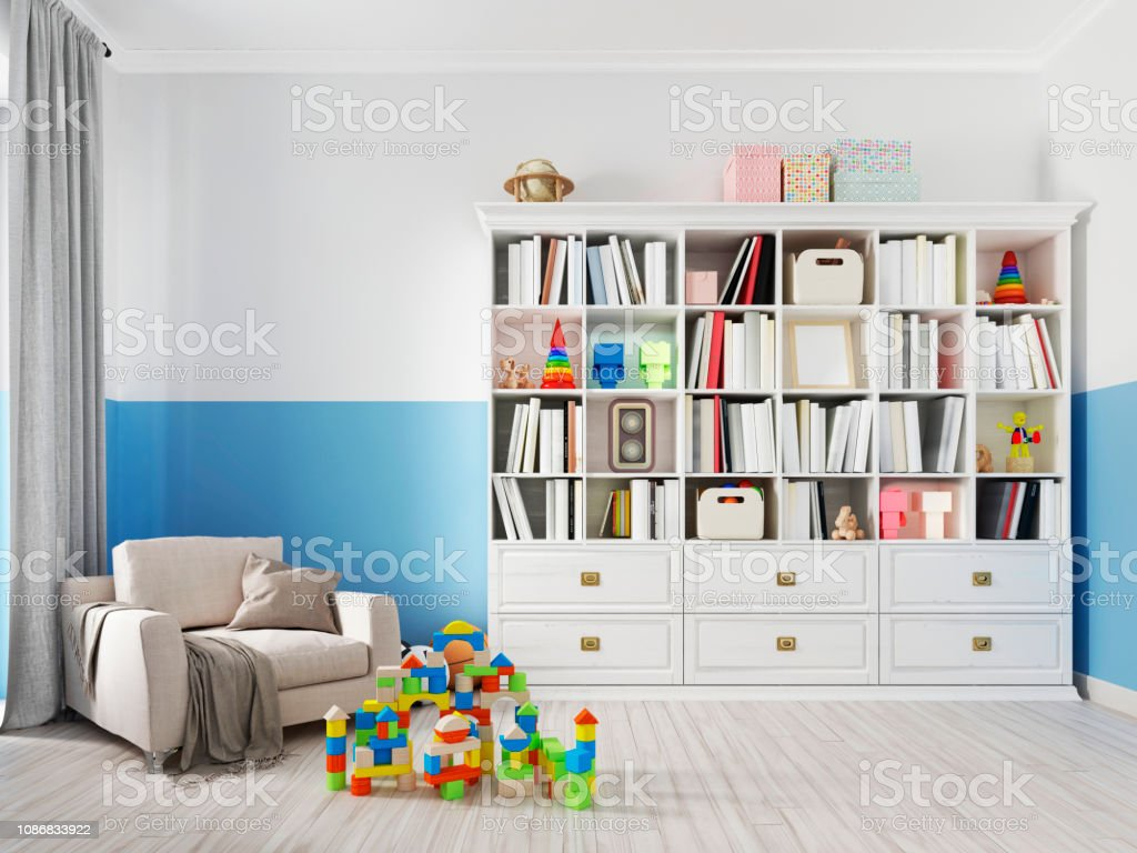 Colorful Childrens Room Interior With Bookcase Bed Pillow