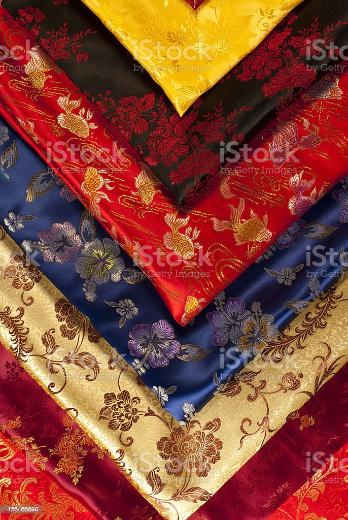 Colorful chinese fabric samples royalty-free stock photo