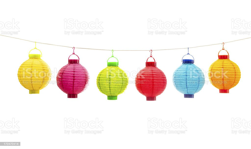 Colorful Chinese Lanterns in a Row on White Background stock photo