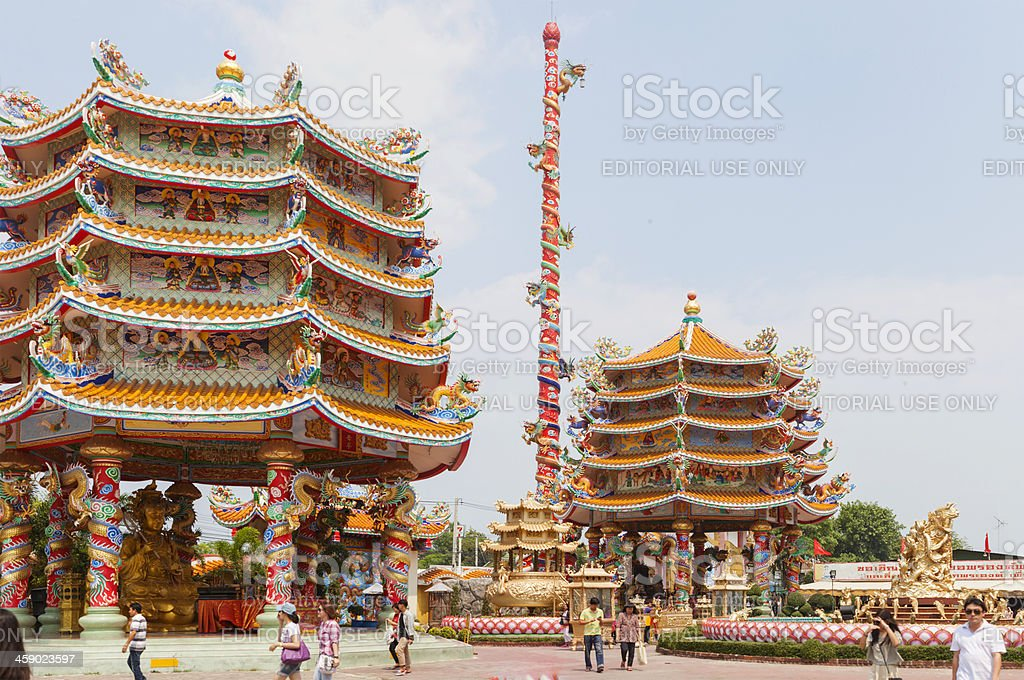 Colorful Chinese temple in Ang Sila, Chon Buri, Thailand royalty-free stock photo