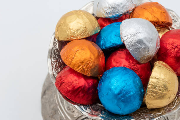 Colorful Chocolate candies. stock photo
