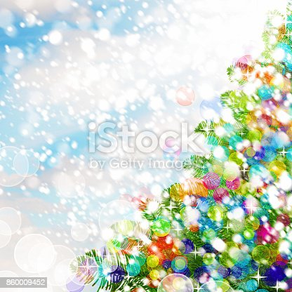 istock Colorful Christmas Background. Christmas Tree, Snow and Bright Glass Glitters 860009452