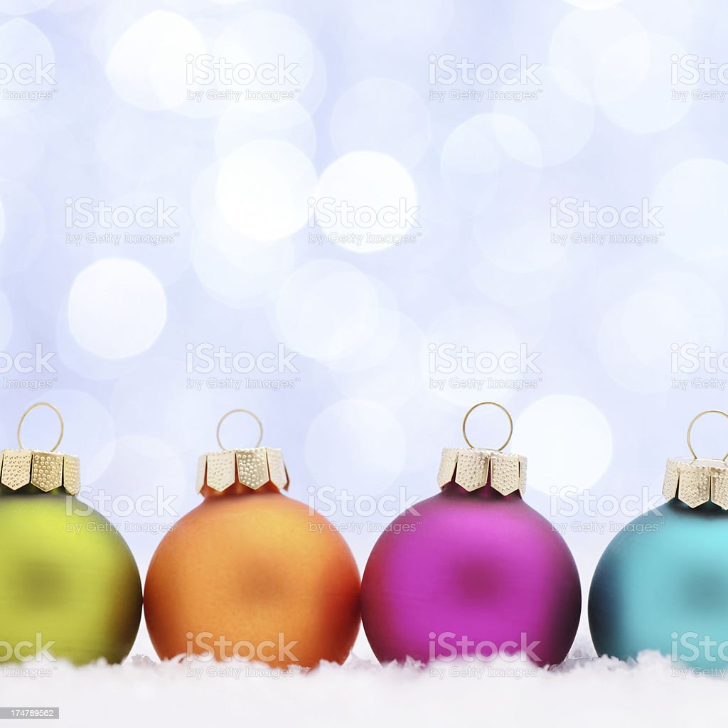 Colorful christmas balls with copy space royalty-free stock photo