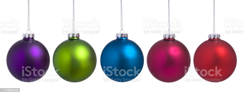 Colorful Christmas Baubles Hanging in a Row Isolated on White. royalty-free stock photo