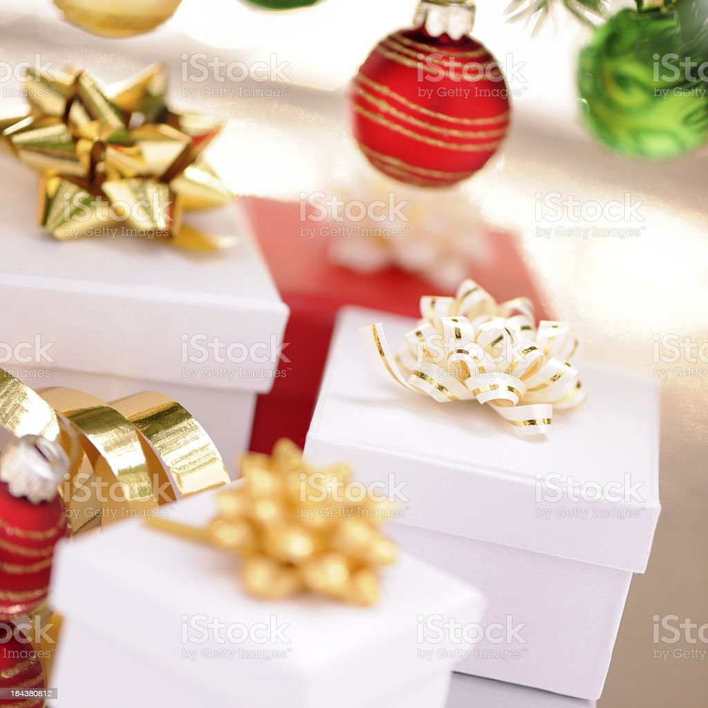 Colorful christmas baubles with a copy space royalty-free stock photo