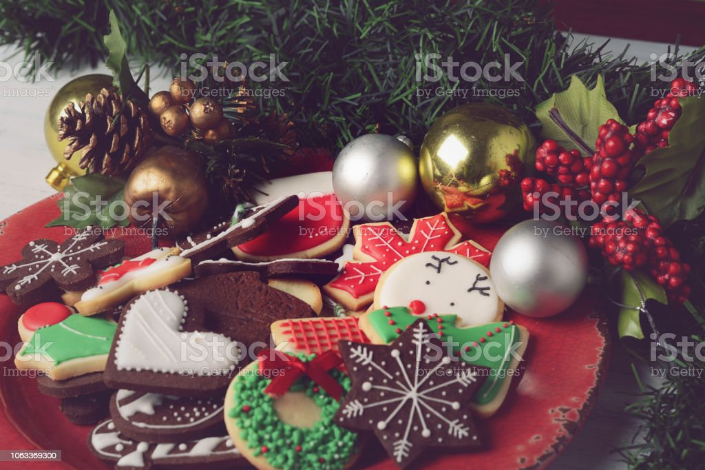 Colorful Christmas Cookies With Festive Decoration Stock Photo Download Image Now