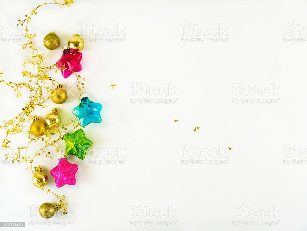 Colorful christmas decoration on white background with space for copy stock photo