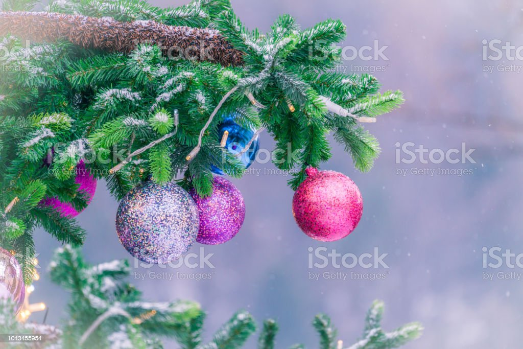Colorful Christmas Tree Decorations.Colorful Christmas Decorations On Xmas Tree Outdoors Stock