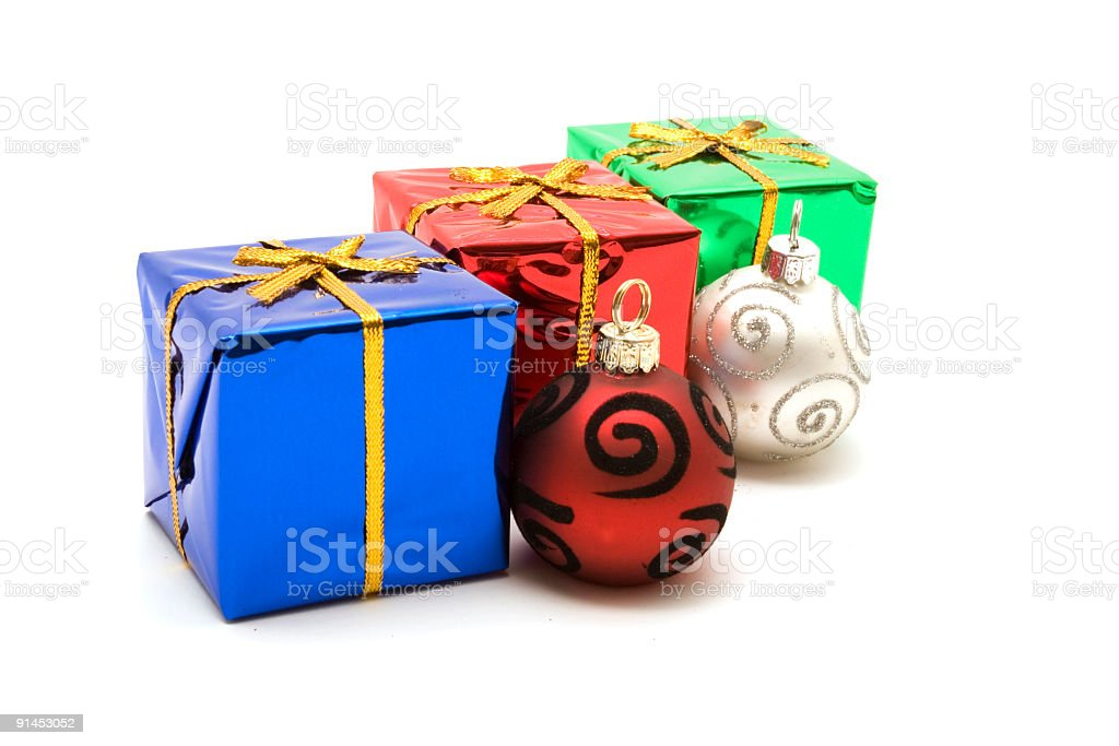 Colorful Christmas gift boxes royalty-free stock photo