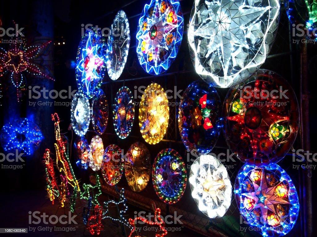 Christmas Lanterns.Colorful Christmas Lanterns On Display At A Store Stock