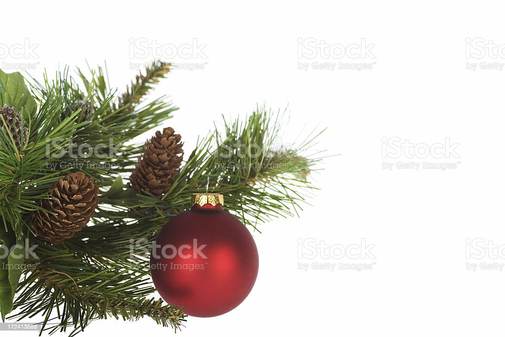 colorful christmas ornament and fir isolated on white text space royalty-free stock photo