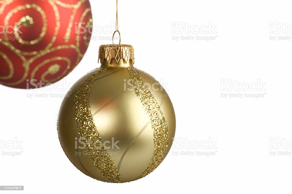 colorful christmas ornaments hanging isolated on white royalty-free stock photo