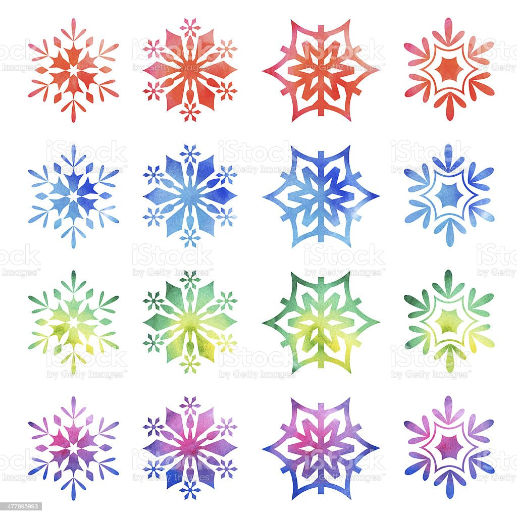 Colorful Christmas Snowflakes royalty-free stock photo