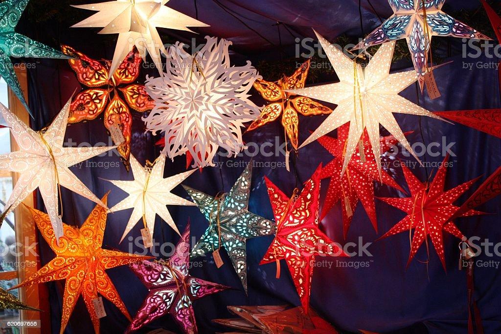 Colorful christmas stars, Germany stock photo