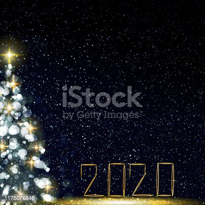 istock Colorful Christmas tree isolated on blue background. New Year 2020 1175076846