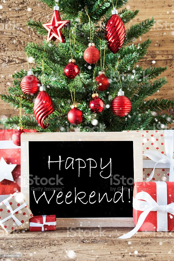 Colorful Christmas Tree With Snowflakes, Happy Weekend stock photo