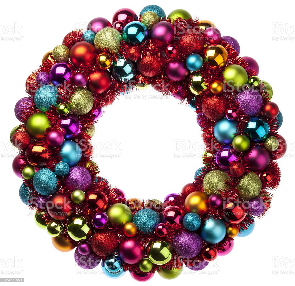 Colorful Christmas Wreath royalty-free stock photo