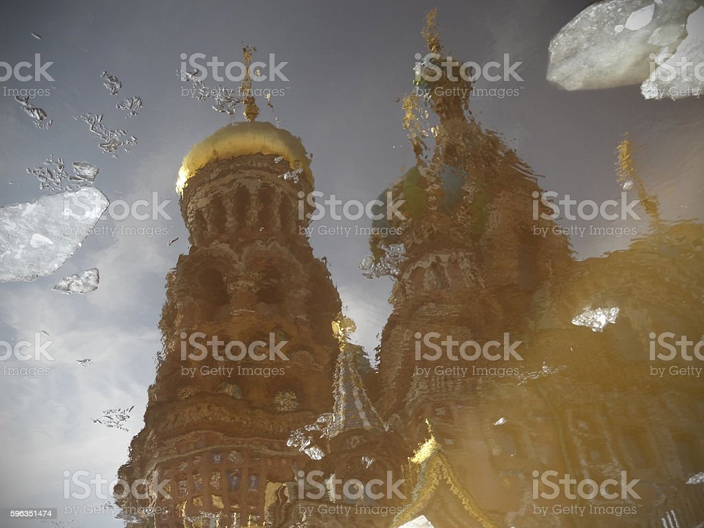 Colorful church in water reflection. Savior on Spilled Blood wit royalty-free stock photo