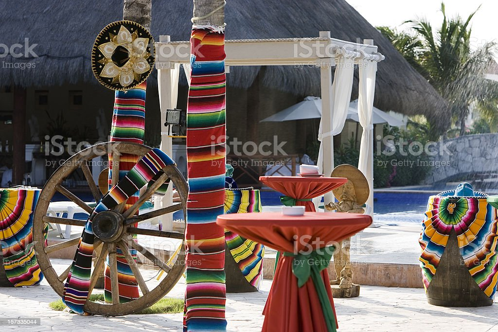 Colorful Cinco de Mayo Decorations at Tropical Resort, Nobody stock photo