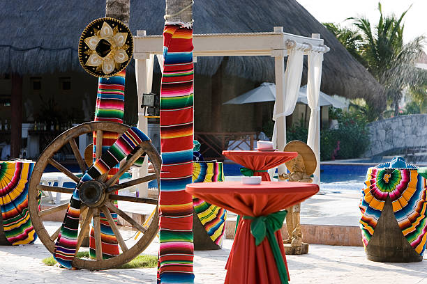 colorful cinco de mayo decorations at tropical resort, nobody - cinco de mayo party stock photos and pictures