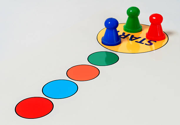 Colorful circles game start nation stock photo
