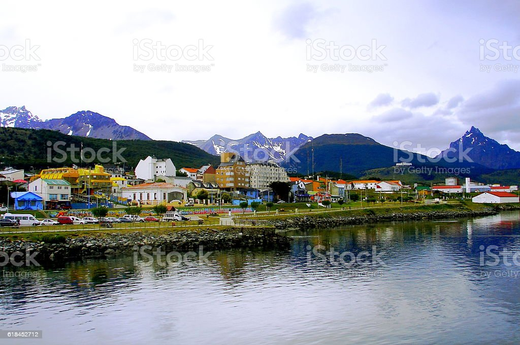 Colorful city at the end of the world. stock photo