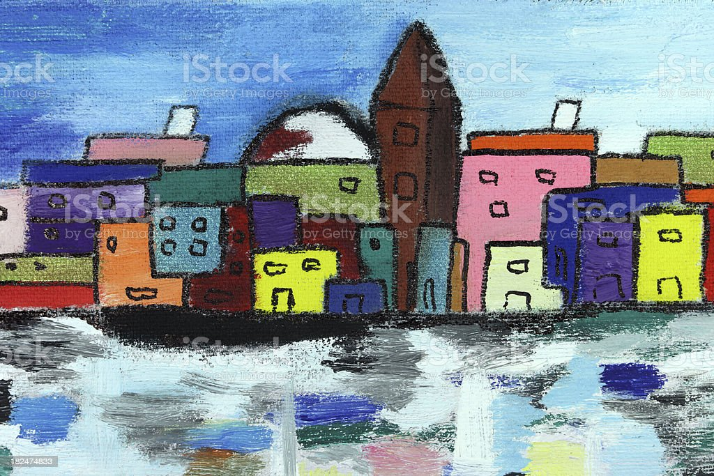Colorful city houses along river: tempera painting stock photo