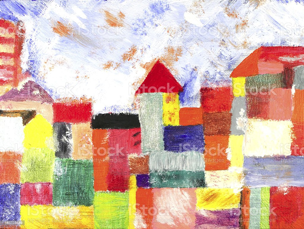 Colorful city houses: tempera painting stock photo